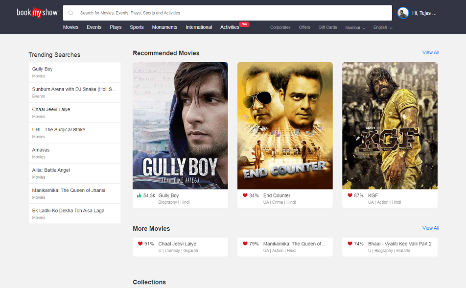 BookMyShow.com in 2019
