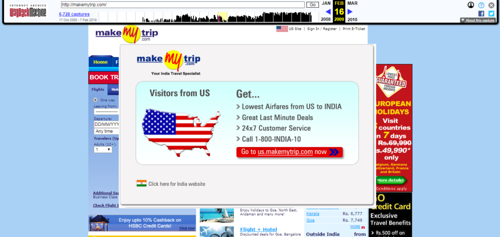 MakeMytrip.com in 2009