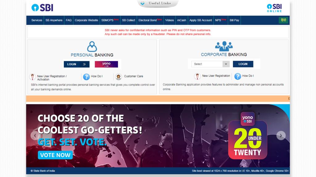 OnlineSBI.com in 2019