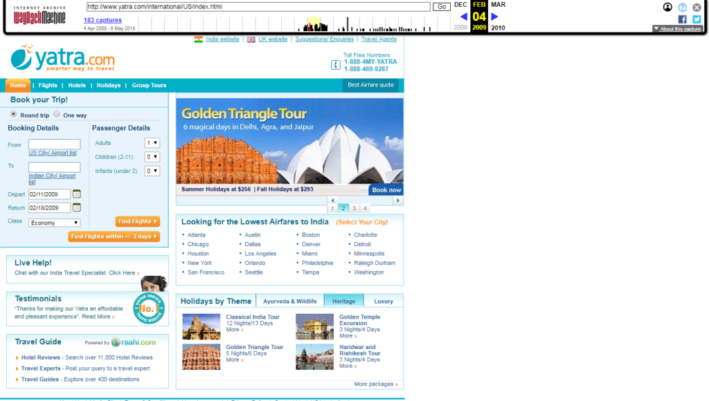 Yatra.com in 2009