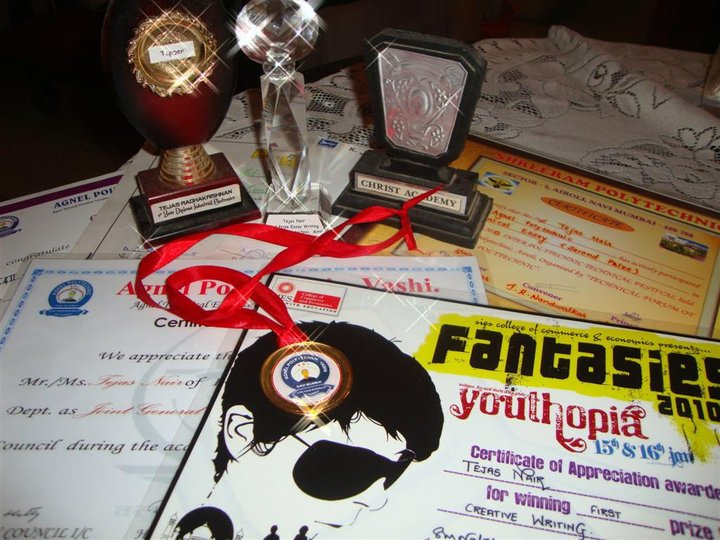 certificates, medal, and trophies received for technical paper presentation competitions